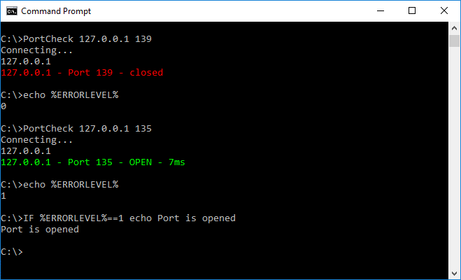 PortCheck - TCP port check for Windows